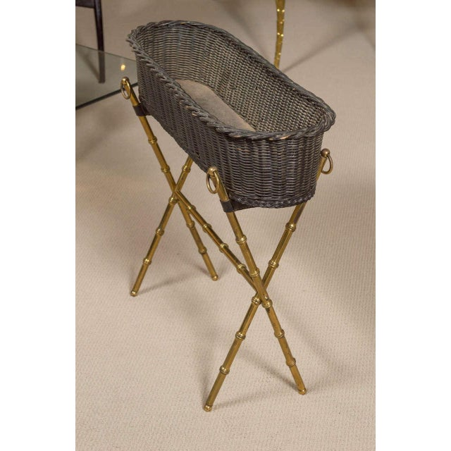 A wicker planter with bamboo motif, gilt brass base. By Jacques ADNET France, circa 1960.