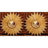 Image of Large Pair of Italian Carved Giltwood Sunburst Mirrors For Sale