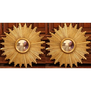 Large Pair of Italian Carved Giltwood Sunburst Mirrors For Sale