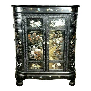 Vintage Japanese Mother of Pearl and Lacquer Cabinet/ Bar For Sale