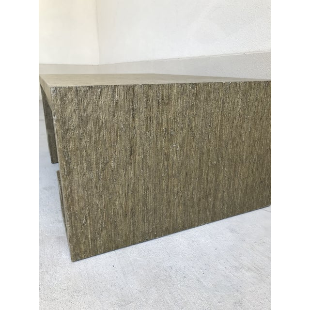 Wood Grasscloth Greek Key Coffee Table For Sale - Image 7 of 13