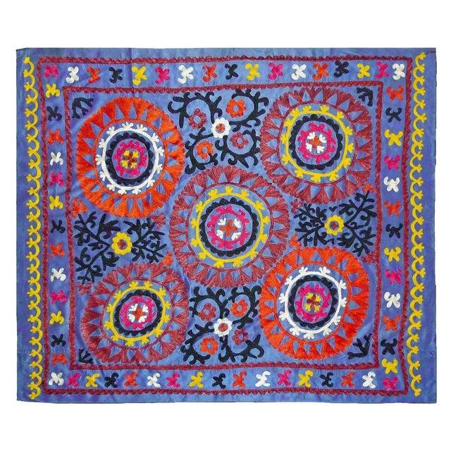 Uzbek Embroidered Blue Suzani - Image 1 of 3