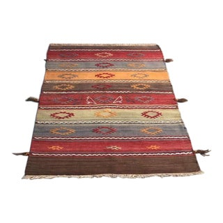 "Embroidered Kilim Cecim Rug - 2'5"" x 4' For Sale"