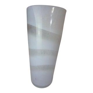 Murano White Swirl Hand Blown Glass Vase For Sale