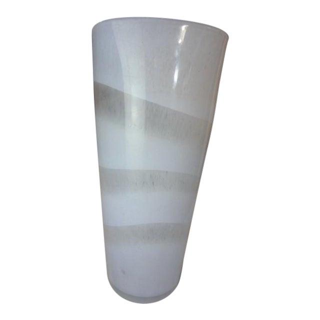 Murano White Swirl Hand Blown Glass Vase Chairish