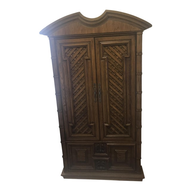 Vintage Thomasville Oak Armoire For Sale
