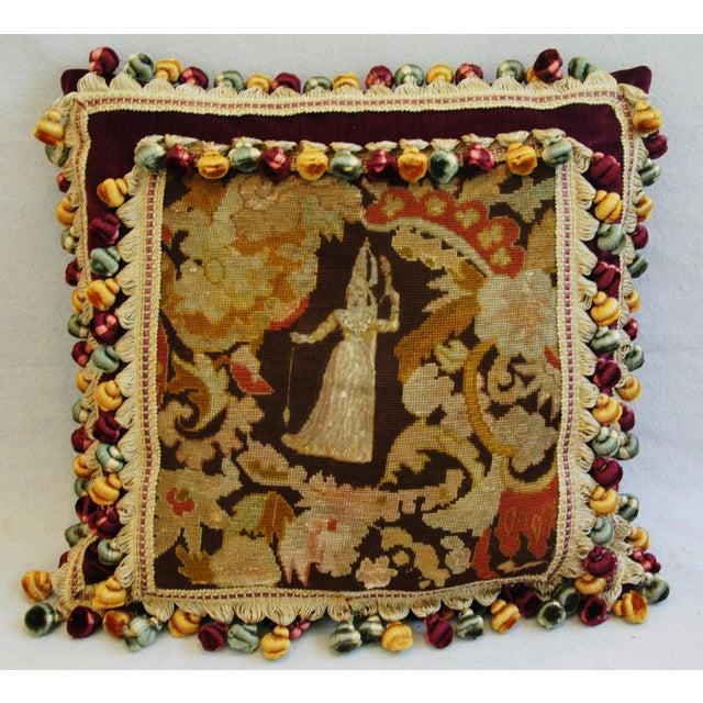 Custom Antique French Needlepoint & Velvet Pillow - Image 2 of 11