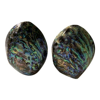 Vintage Mid-Century Modern Paua Shell Salt and Pepper Shakers by Fiordland. - a Pair For Sale