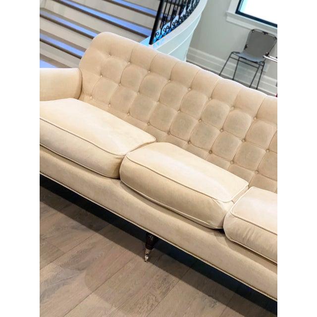 Grace Home Furnishings Beige Velvet NailHead Contemporary Sofa For Sale - Image 10 of 13