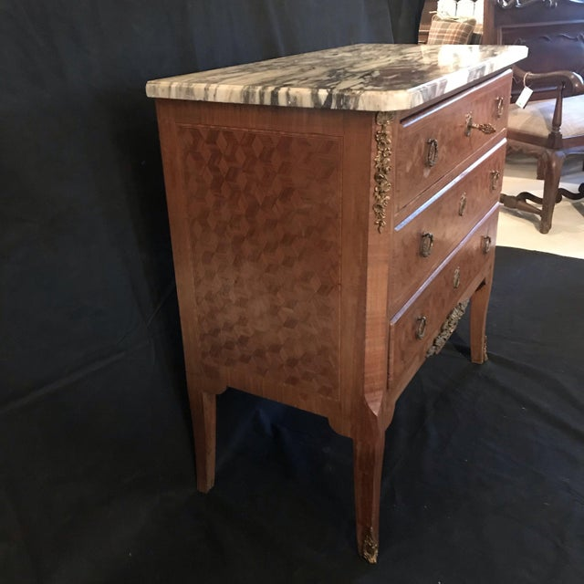 Wood French Antique Marquetry Commode or Chest of Drawers With Marble Top For Sale - Image 7 of 13