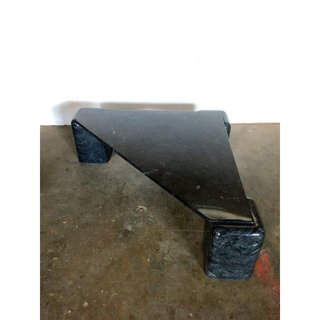 Black Marble Black Marble Triangular Cocktail Table For Sale - Image 7 of 8
