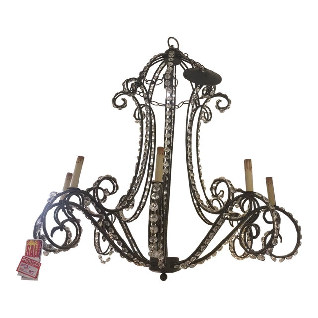 Eight Light Wrought Iron and Crystal Chandelier For Sale