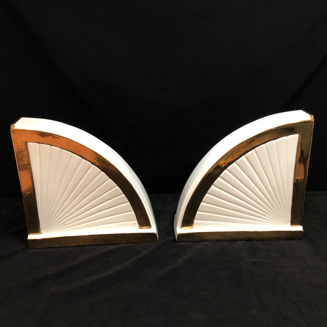 Ceramic Vintage Art Deco Egyptian Revival Bookends For Sale - Image 7 of 10