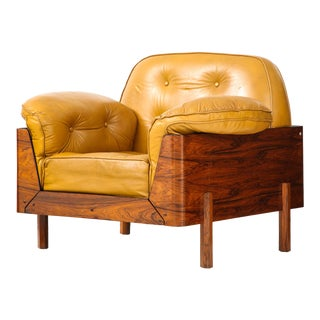 Brazilian Lounge Chair in Jacaranda and Yellow Leather For Sale
