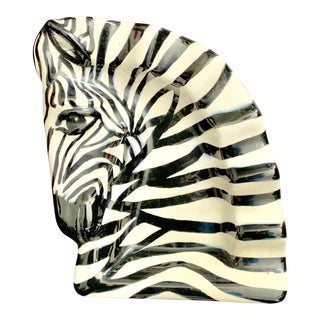 1950s Vintage Studio Zebra Head Nut Bowl / Ash Tray - Signed by Artist For Sale