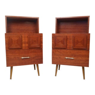 Pair of Brutalist Style Midcentury Nightstands For Sale