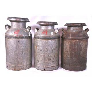 c. 1950 Hood Metal Milk Cans - Set of 3 Preview