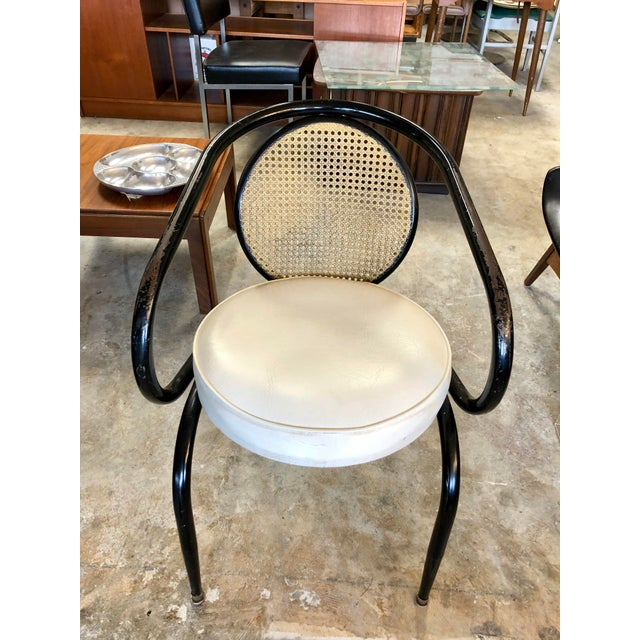 Black Vintage Mid-Century Howell Manufacturing Black Metal Cane Back Chair For Sale - Image 8 of 8
