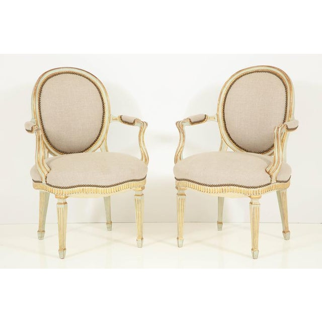 Pair of Louis XVI Style Fauteuils For Sale - Image 10 of 10