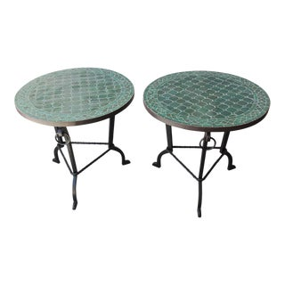 Moroccan Fez Mosaic Tile Tables in Emerald Green - a Pair For Sale