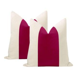 """22"""" Magenta Italian Velvet Panel & Linen Pillows - a Pair For Sale"""