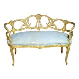 Image of Vintage Mid-Century Creme Paint Decorated French Louis XV Style Window Bench Settee For Sale