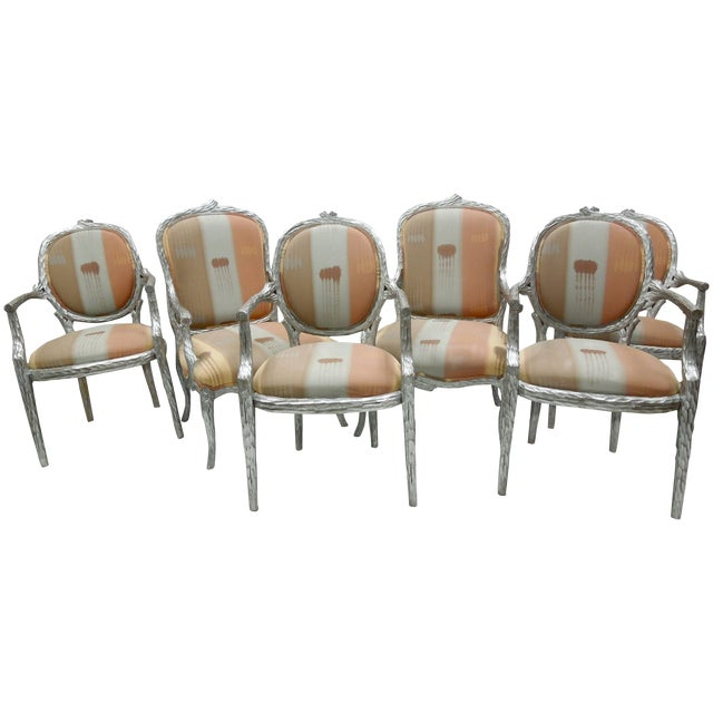 Silver Leaf 1980s Vintage Faux Bois Twig Dining Chairs - Set of 6 For Sale