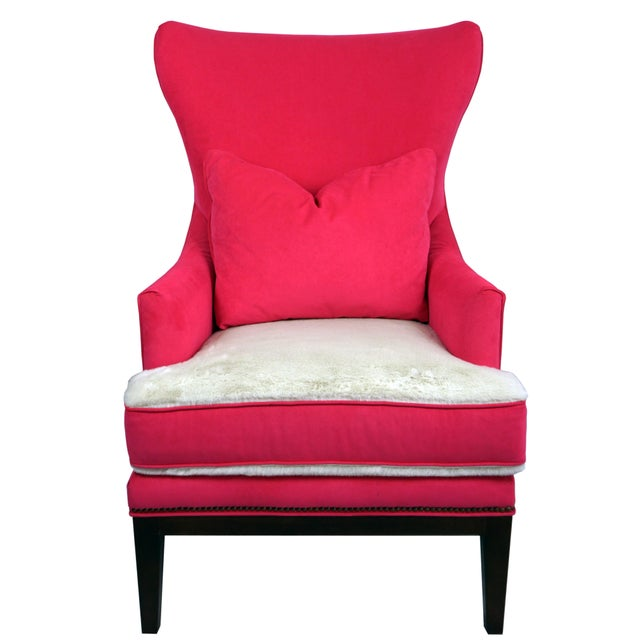 Shabby chic hot pink Wing Chair by BiltWell Showroom. Chair is covered in a Hot Pink micro-suede with ivory faux fur seat...