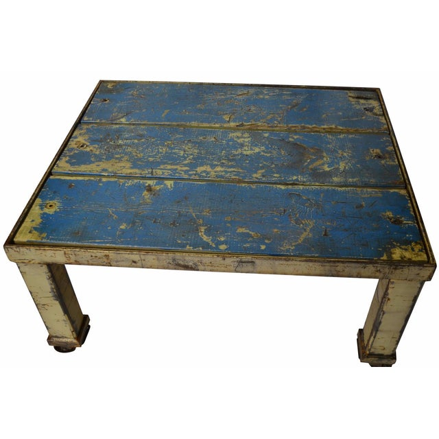 Worn Blue-Painted Coffee Table - Image 1 of 7