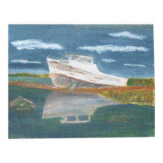 """Beached Boat"" Painting on Wooden Panel"