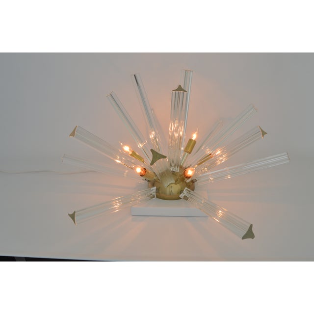 Venini Mid-Century Modern Italian Murano Glass & Brass Sputnik Table Lamp - Image 6 of 12