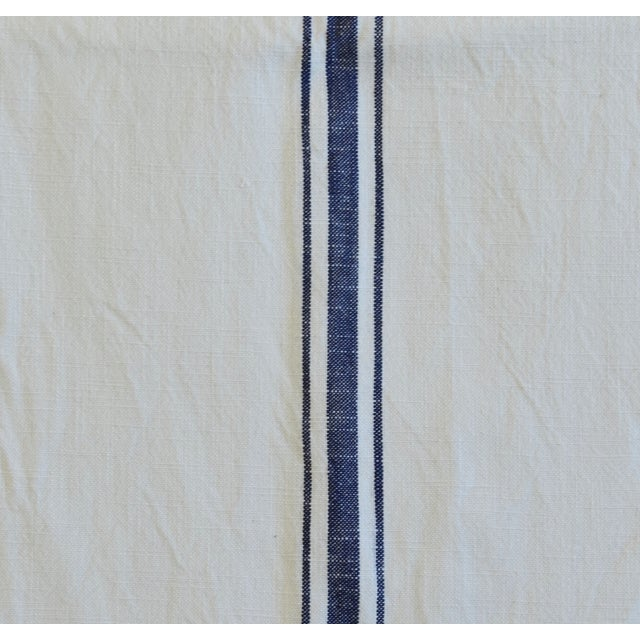 "Textile French Country Farmhouse White & Blue Striped Table Runner 110"" Long For Sale - Image 7 of 8"