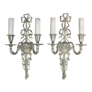 French Dore Bronze Style Ribbon Tassel Wreath Sconces - A Pair