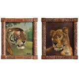 Image of Pair of Tiger and Lion Art Deco Framed Paintings For Sale