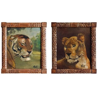 Pair of Tiger and Lion Art Deco Framed Paintings For Sale