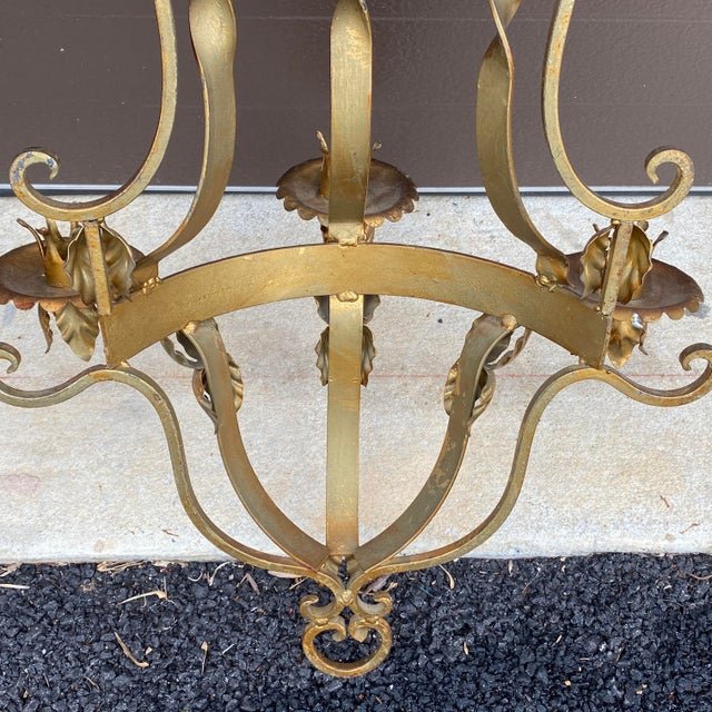 Gold Mid Century Gilt Wrought Iron Three Arm Candle Sconce For Sale - Image 8 of 11