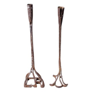 20th Century Americana Forged Cattle Branding Iron Candlesticks - a Pair For Sale