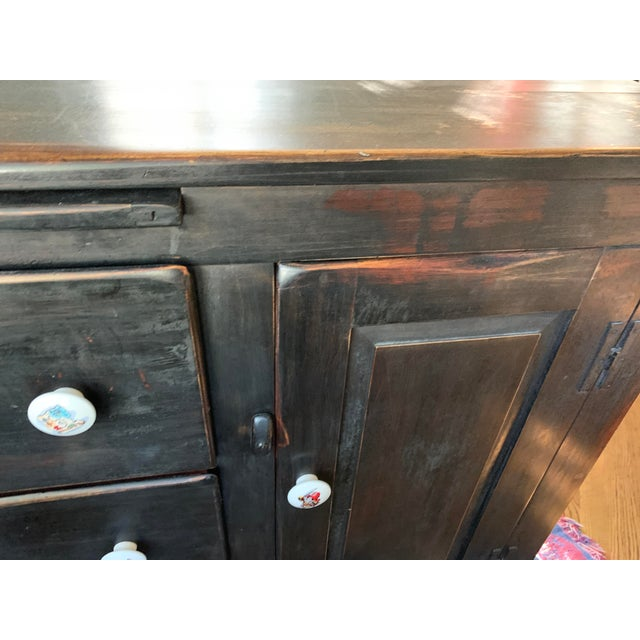 English Antique Traditional Black Wood Buffet For Sale - Image 3 of 12