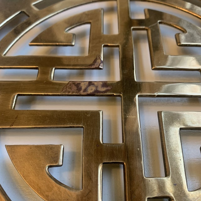 Chinoiserie Mid 20th Century Large Chinoiserie Brass Trivet For Sale - Image 3 of 7