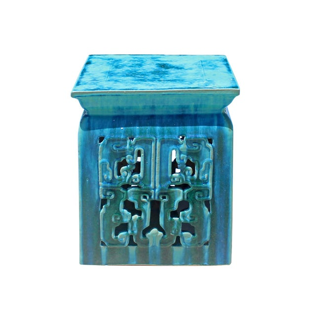 2020s Chinese Ceramic Square Turquoise Blue RuYi Garden Stand Table For Sale - Image 5 of 5