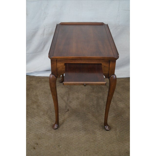 Statton Solid Cherry Queen Anne Style Tea Table - Image 2 of 10
