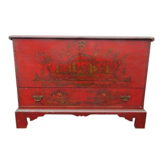 Early 1900s Oriental Hand Painted Chest For Sale