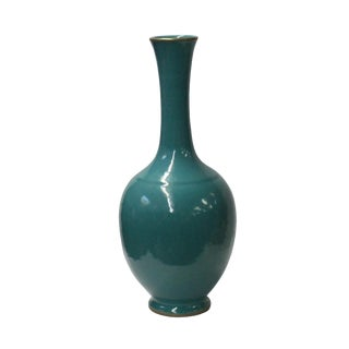 Chinese Fine Handmade Turquoise Aqua Ceramic Porcelain Vase For Sale