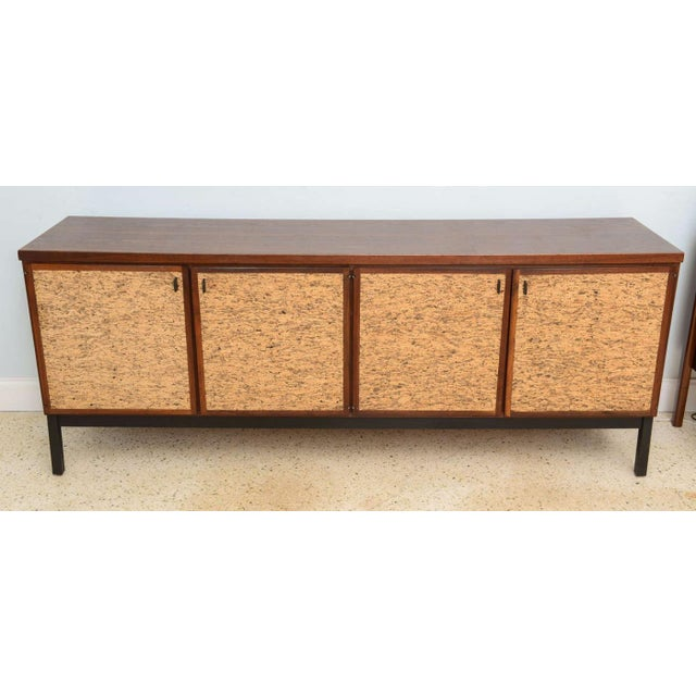 Italian Italian Modern Mahogany and Cork Four-Door Credenza or Buffet For Sale - Image 3 of 9