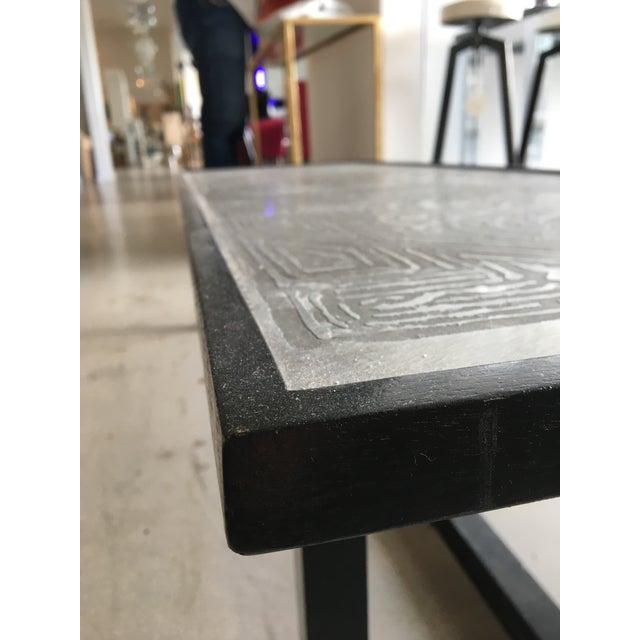 Contemporary Contemporary Coffee Table With Etched Metal Inlay and Ebonized Wood Frame For Sale - Image 3 of 12