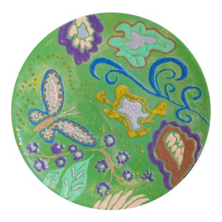 Abstract Enamel on Copper Butterfly Dish For Sale