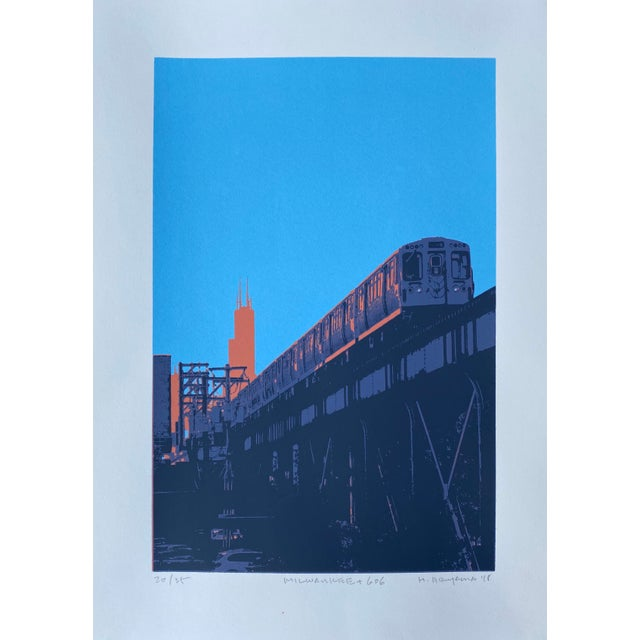 """Contemporary """"Milwaukee and 606"""" Contemporary Serigraph by Hiroshi Ariyama For Sale - Image 3 of 3"""