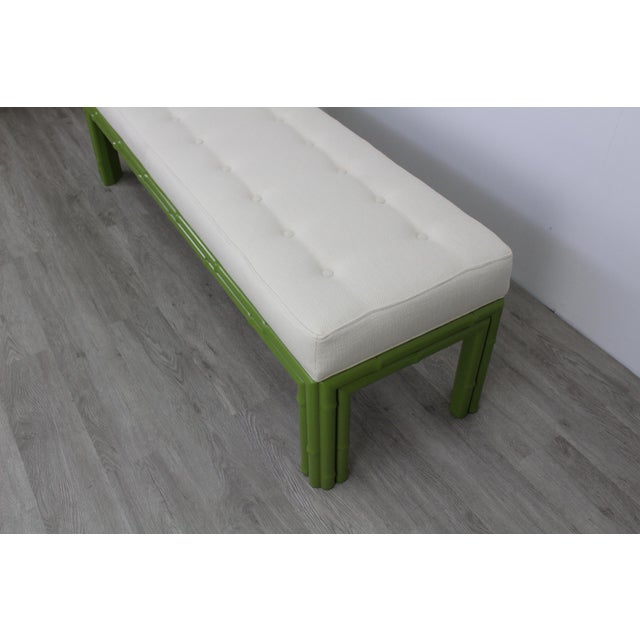 Green Mid-Century Apple Green Faux Bamboo Bench For Sale - Image 8 of 9