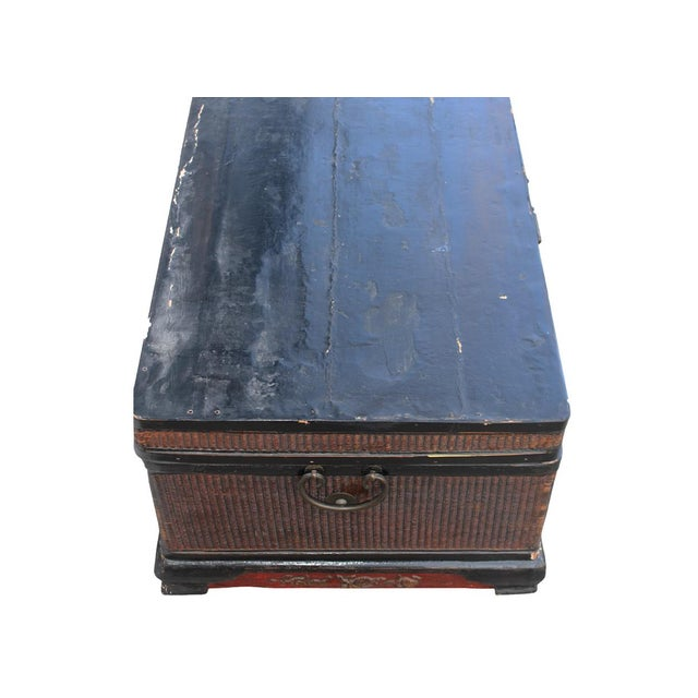Asian Vintage Wooden Chinese Trunk For Sale - Image 3 of 4