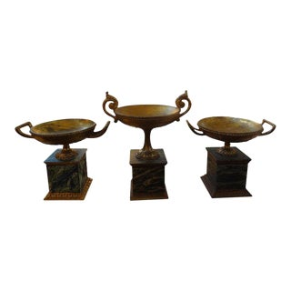 1920s Italian Neoclassical Style Carved Gilt Wood Urns-Set of 3 For Sale